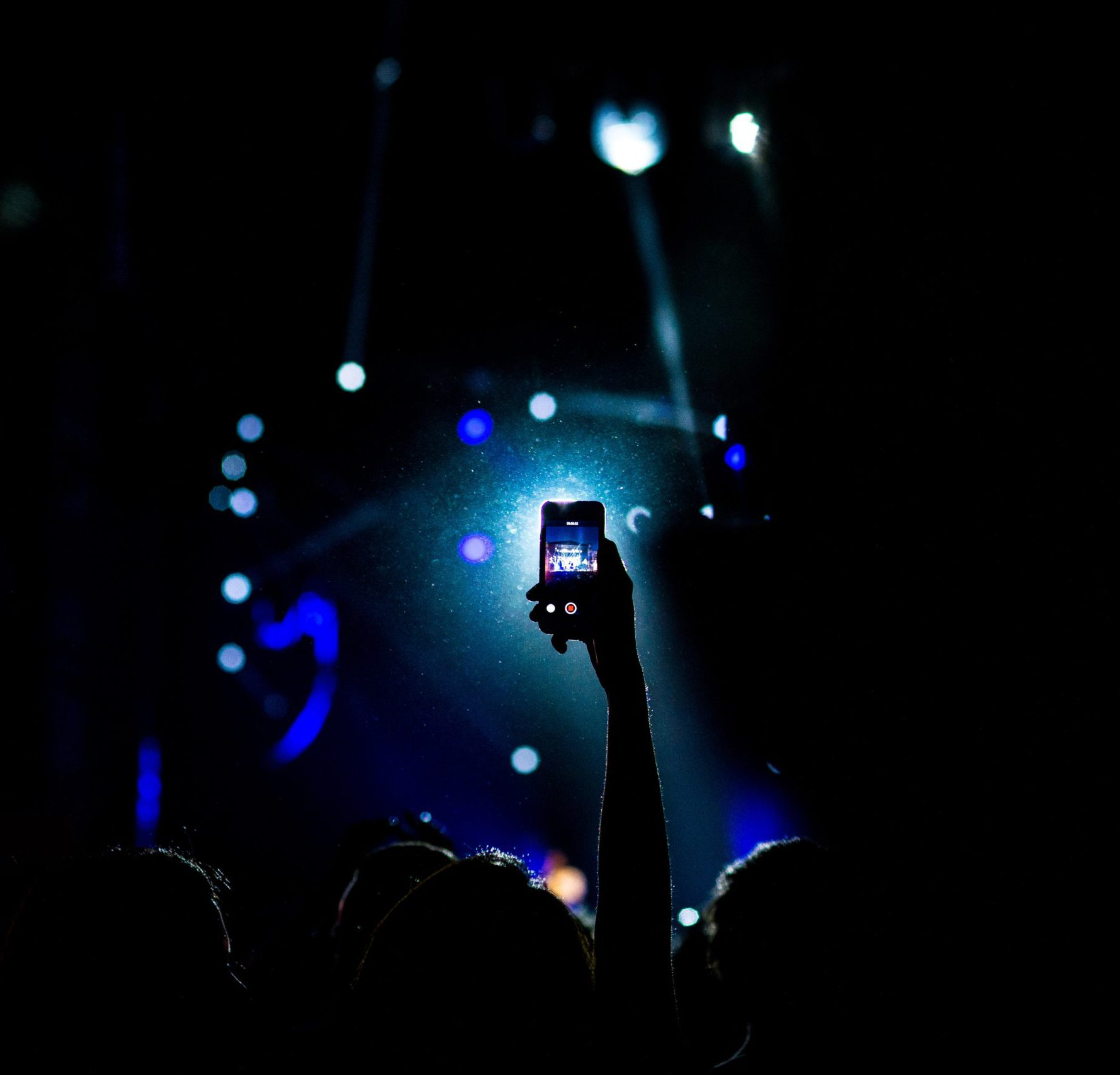 Person holding phone at concert